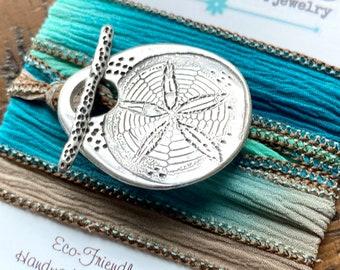 Sand Dollar Bracelet, Beach Jewelry, Gift for her,  Sea Jewel Silk Wrap Bracelet