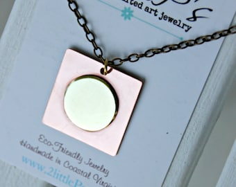 Vampire Jewelry ~ Circle Hits the Square Necklace, Handcrafted, Edgy Gift for Her