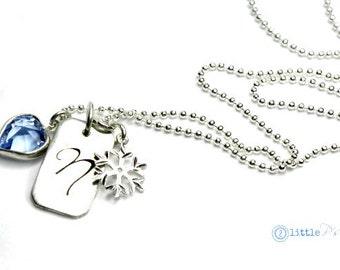 Tween Gift  Frozen Necklace Initial Charm Blue Swarovski Heart Charm Snowflake