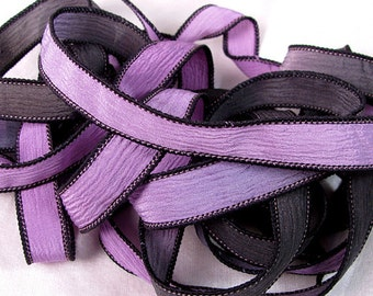 Silk Wrap Ribbon, Silk Ribbon Wrap ~ Lavender and Jet Silk Wrap Ribbon - One Ribbon