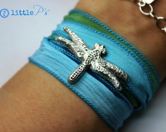 Dragonfly Jewelry  Sweet Dragonfly Handcrafted Artisan Silk Wrap Bracelet  Aqua and Seafoam