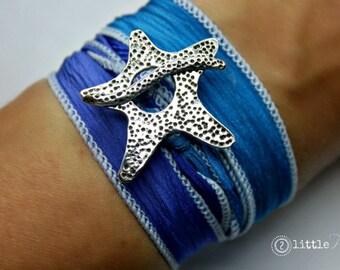 Wrap Bracelet, Beachy Jewelry, Ocean Jewelry, Silk Wrap Bracelet, Starfish Bracelet