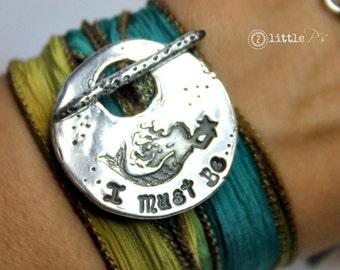 Wrap Bracelet I Must Be A Mermaid Jewelry Silk Wrap Bracelet Beach Jewelry