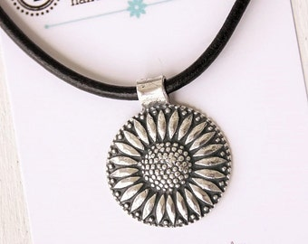 Cowgirl Jewelry for Sara ~ Sunflower ~ Pure Fine Silver Cowgirl Sunflower Pendant on Leather