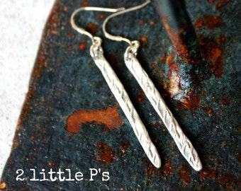 Silver Earrings, Gift for Her,  Textured Earrings, Handcrafted