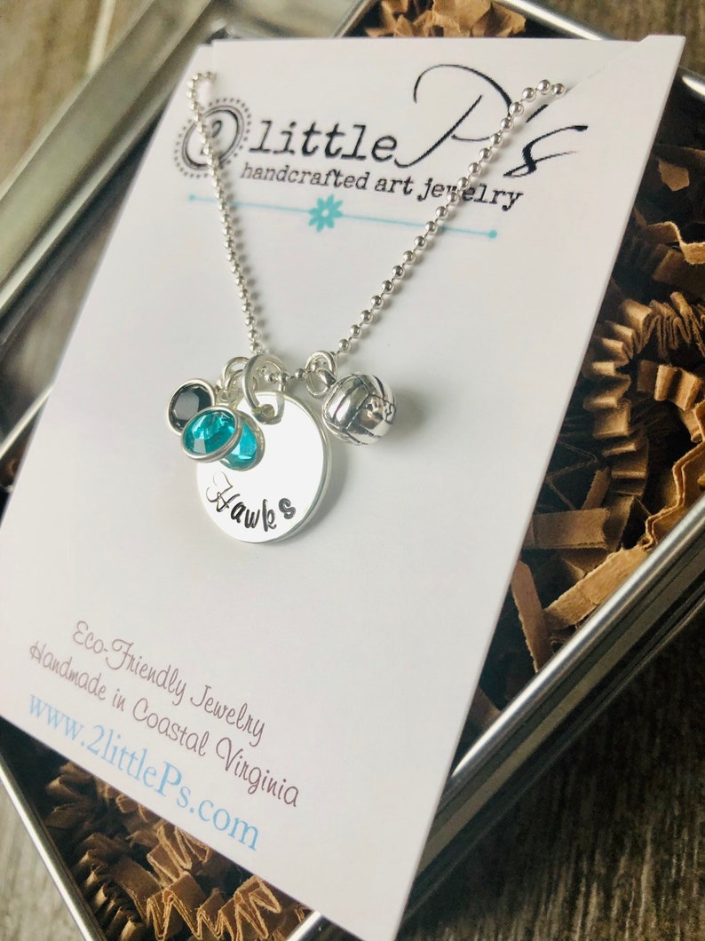 Team Volleyball Necklace  Team Gift Volleyball Gift for her image 0