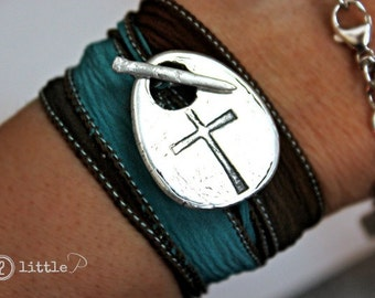 READY TO SHIP Christian Jewelry, Custom Cross and Nail Artisan Silk Wrap Bracelet Stamped with Favorite Verse