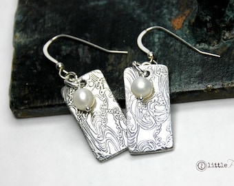 Beachy Cool Water Silver Earrings, Gift for Her, Beach Jewelry, Cool Water, Ocean Jewelry