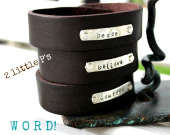 W O R D - Inspirational  Unisex IS Style Leather and Sterlng Silver Cuffs by 2 little P's