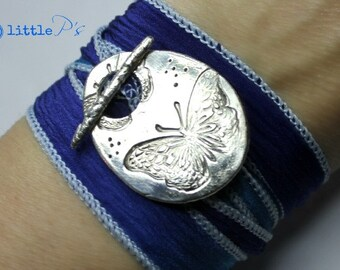 Butterfly Love Artisan Cobalt Blue Blend Silk Wrap Bracelet