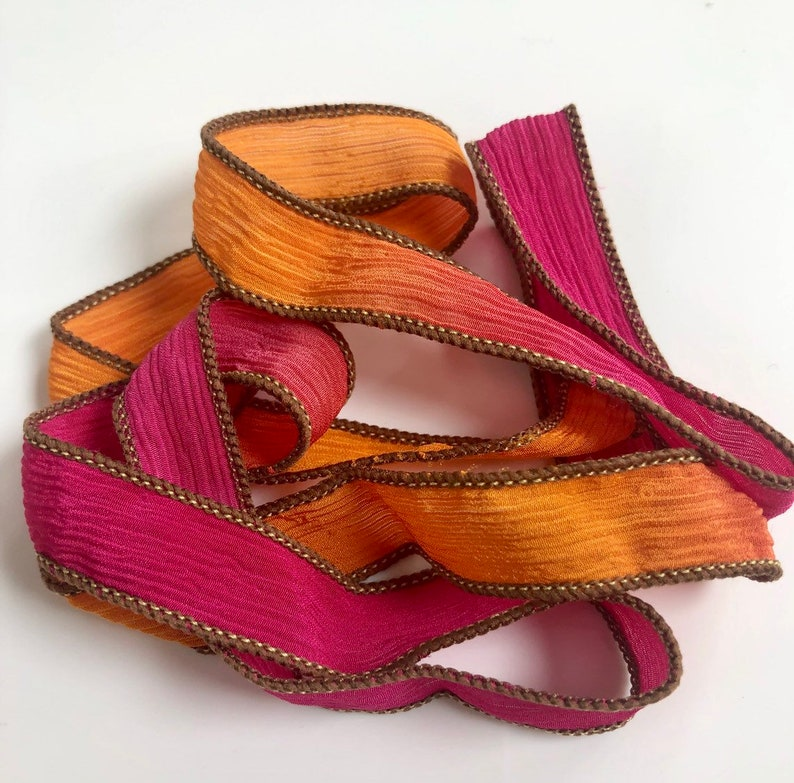 Silk Wrap Ribbon Silk Ribbon Wrap  Seventies Silk Wrap image 0