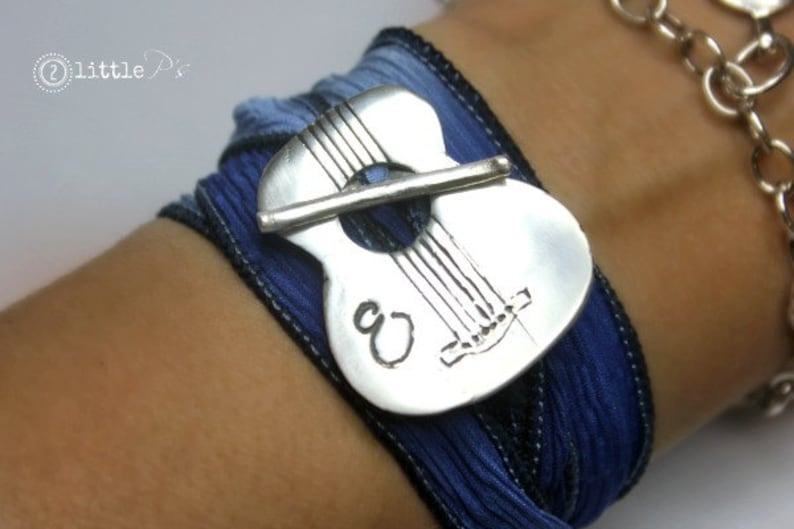 Wrap Bracelet Music Lover  ORIGINAL Guitar Bracelet Silk Wrap image 0