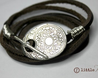 Wrap Bracelet ~ Cowgirl Jewelry, Leather and Pure Silver Wrap Bracelet