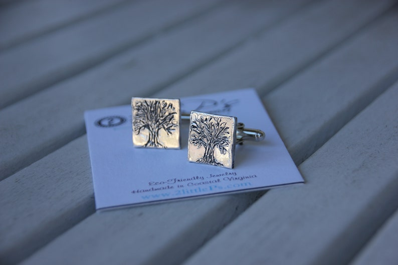 Tree of Life Cuff Links Gift for Him Personalized Pure Silver image 0