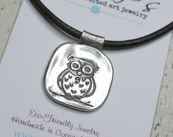 Owl Jewelry Hoot Owl Owl on Branch Handcrafted Artisan Pendant
