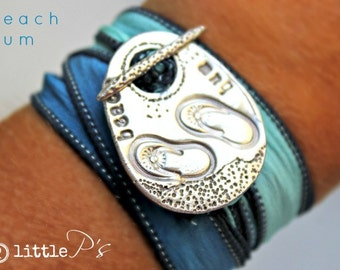 Beach Bum Jewelry  Pure Silver Beach Bum Silk Wrap Toggle Bracelet Handcrafted