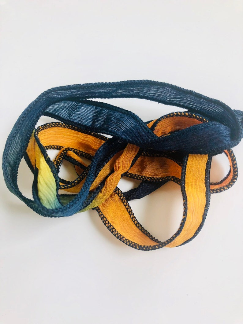 Silk Wrap Ribbon Silk Ribbon Wrap  Navy and Light Orange image 0