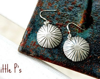 READY to SHIP - SALE - Art Jewelry Gift for Her Earthy  Pure Fine Silver Artisan Starburst Earrings
