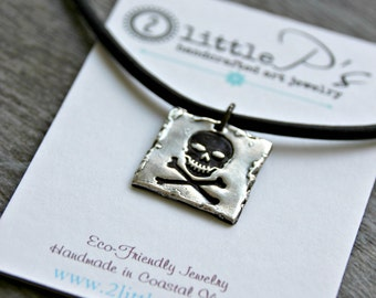 Unisex Necklace, Jewelry for Men, Gift for him ~ Skull and Cross Bones ~ Pure Silver Rocker Necklace