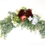 Eucalyptus and Flower Wedding Swag for Signs, Arches, Wedding Sign Flower Arrangement Swag, Custom Length and Color, Church Pew Decoration