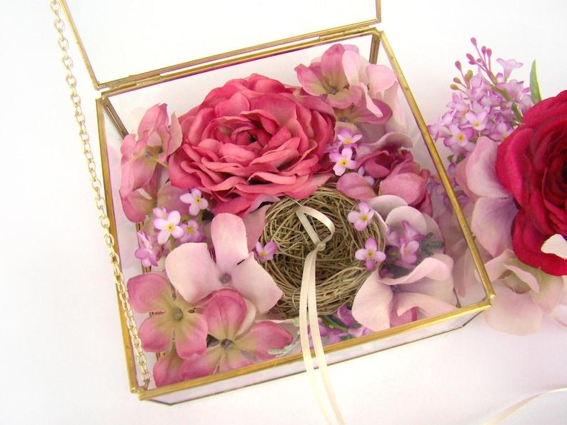 Ring Box Wedding Ring Holder Wedding Ring Box Glass Ring Bearer Pillows Floral Pink Ranunculus Mauve Marsala Wine, Ring Bearer Box