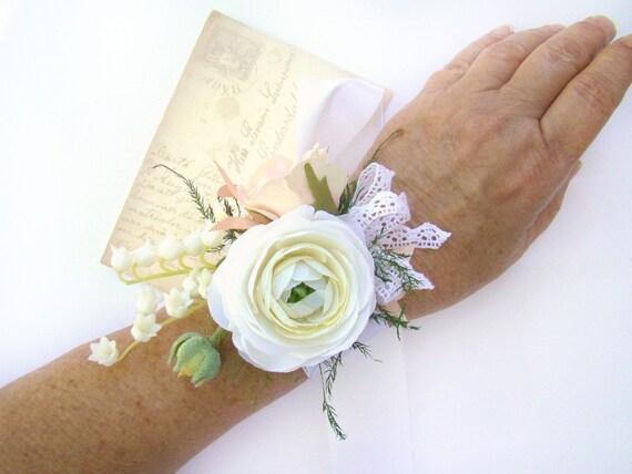 Wedding Corsage White Blush Rose Wrist Corsage Ribbon Tie Etsy