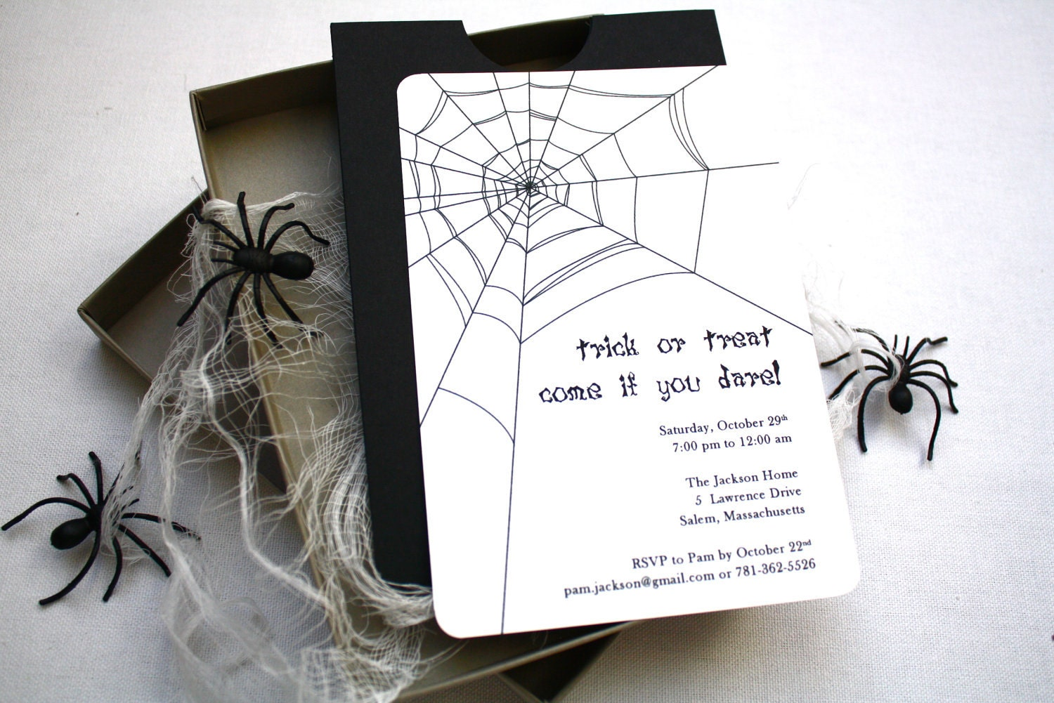 Spooky Spider Halloween Party Invitation Box Mailer Black | Etsy