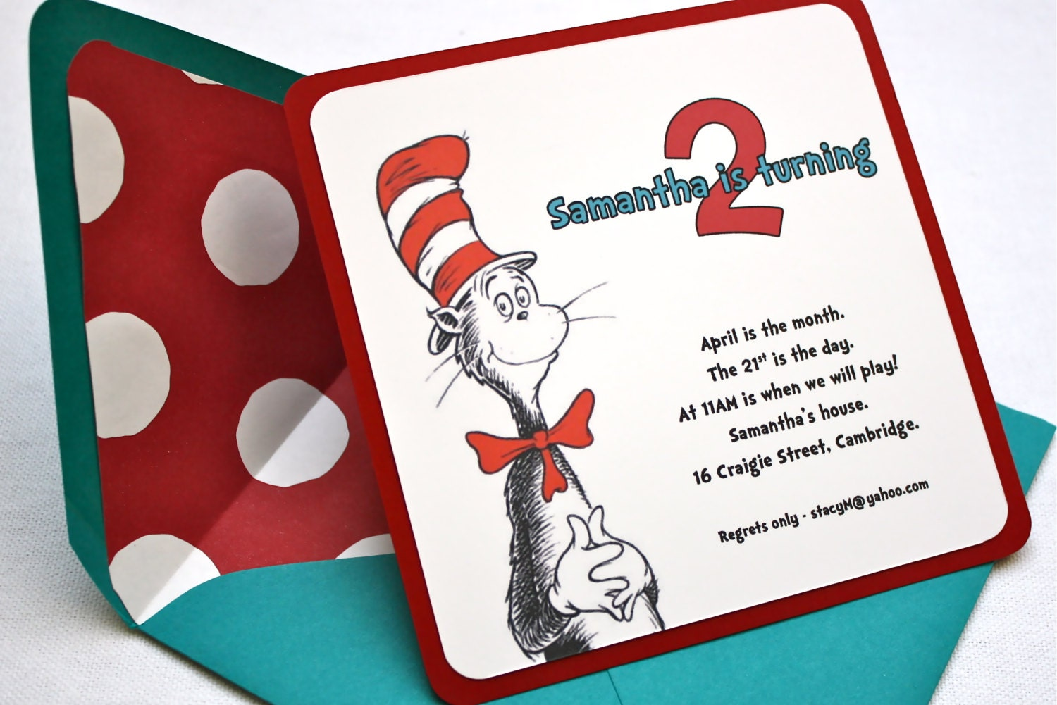 Dr. Seuss Birthday Party Invitation Square Envelope and | Etsy