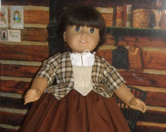"""American Girl 18"""" Doll Brown Plaid Outlander Claire Dress and Accessories"""