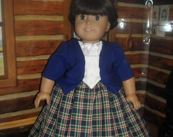 """American Girl 18"""" Doll Royal Blue Outlander Claire Dress and Accessories"""