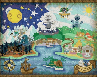 Super Mario Rpg World Map Cross Stitch Pattern Etsy