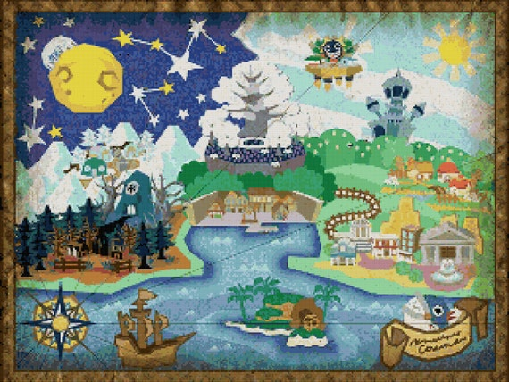 Paper Mario The Thousand Year Door World Map V2 Cross Stitch Etsy