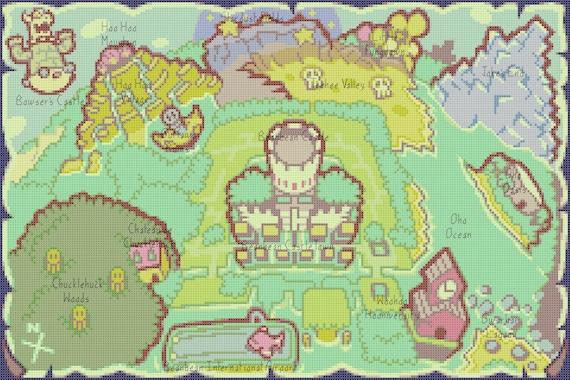 Mario Luigi Superstar Saga World Map Cross Stitch Pattern Etsy