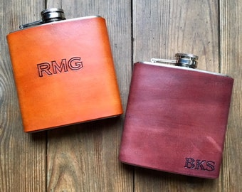 Hip Flask, Personalized Flask, Leather Flask, Groomsmen Flask, Custom flask, Groomsmen gift box, Gift for him,