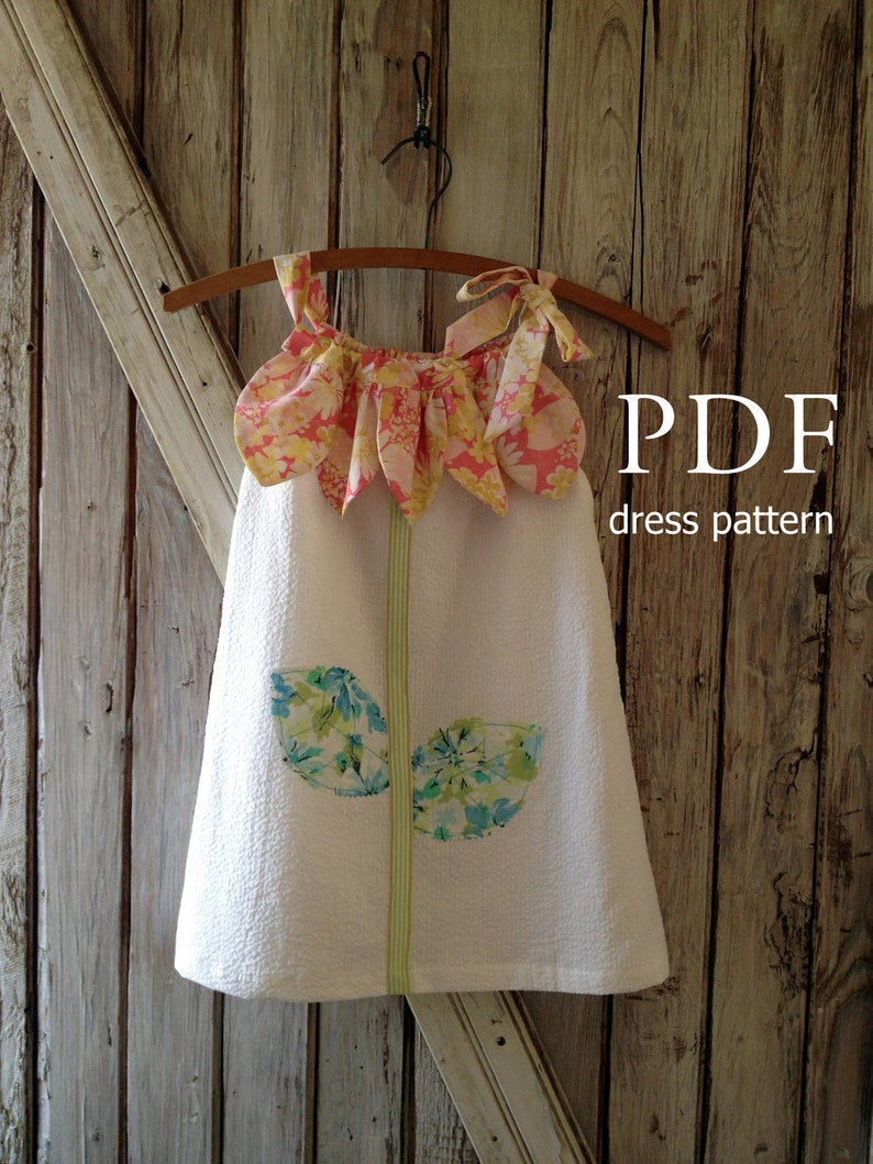 Sunny Flower - Pillowcase Dress Pattern Tutorial  Girl's Dress Pattern   Girl's Sewing Pattern  Easy Sew Sizes 12m thru 10 included