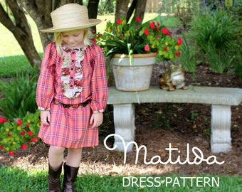 SALE! Matilda - Girl's Peasant Dress PDF Pattern, Girl's Long Sleeved Sewing Pattern.Tutorial  Sizes 12m-10 included
