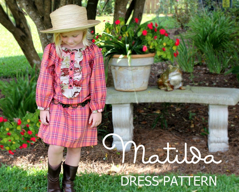 Matilda - Girl's Peasant Dress Sewing Pattern PDF  Girl's Long Sleeved  Sewing Pattern Tutorial Sizes 12m-10 included