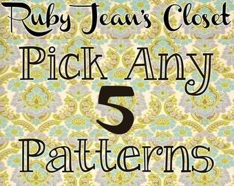 SALE Pick any 5 patterns from Ruby Jean's Closet and SAVE on Dress PDF Patterns