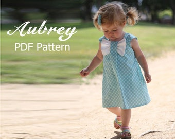 Aubrey - Bow Dress Sewing Dress PDF Pattern. Girl's Dress Pattern. Toddler Pattern. Sizes 12m-8 included