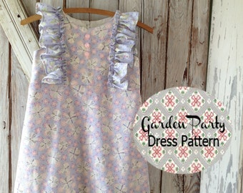 Garden Party - Girl's Dress Pattern. Girl's Sewing Pattern. PDF Pattern. Toddler and Baby Pattern. Sizes 1-10