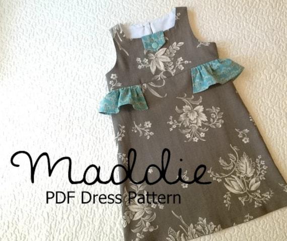 Maddie - Girl\'s Ruffled Dress PDF Pattern. Girl Kid Toddler Child ...