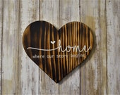 Wood Burned Heart Home where our story begins Wall Decor Custom Personalized Quote Anniversary Wedding Gift Couple Housewarming