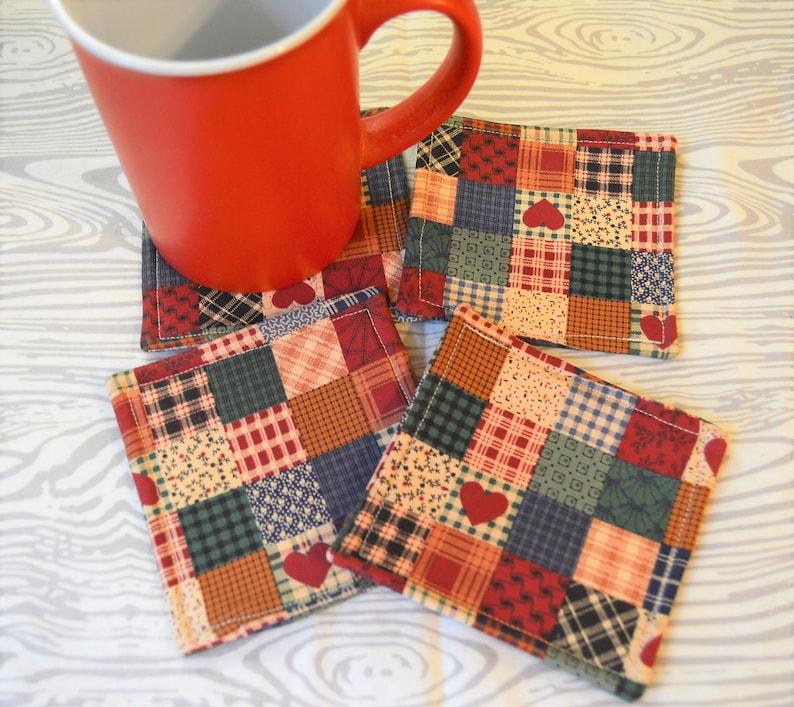 Buffalo Plaid Deer Head Fabric Drink Coasters Set of 4 Mug Rug
