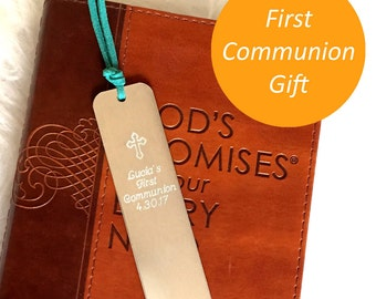 First Communion Gift, Baptism Gift, confirmation Personalized Bookmark Custom Bookmark Keepsake Date gift for him hand stamped metal gift