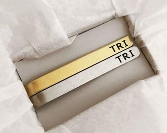 Groomsmen gift set, Personalized Tie Clip, Skinny Tie, short, Groomsmen tie clip, Wedding, Custom Tie Clip, gift for him, gold and silver