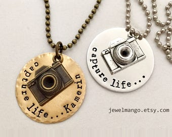 Personalized name camera necklace, Capture Life, capture moments, photographer, monogram, custom necklace, antique Bronze, traveler, camera