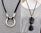 eyeglasses necklace, eyeglass holder, faux suede necklace, pick your colors, Eyeglass Loop Necklace, Reading glasses holder necklace