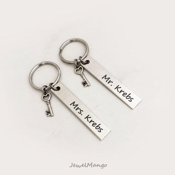 2019 Personalised Mr Mrs Wedding Day Keepsake Owl Key Charm Gift Boxed Set Heart