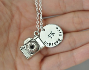 Camera necklace, Personalized initial camera necklace, Capture Life capture moment, snap, vintage camera, hand stamped, photographer gift