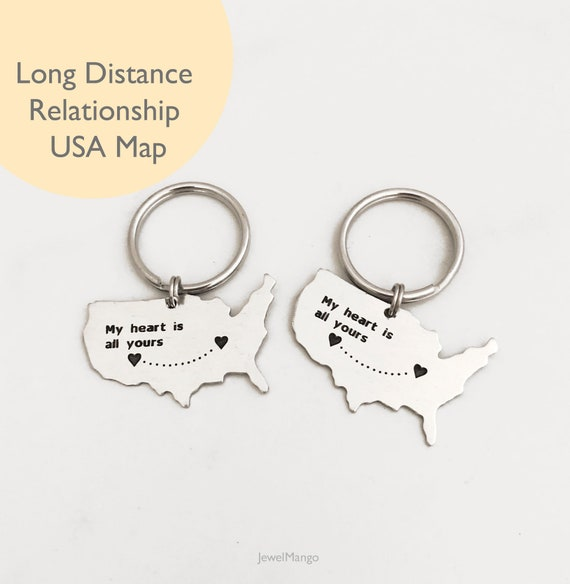 2 Long Distance Love map Long Distance Relationships United | Etsy